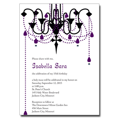 Gothic chandelier invitation mozeypictures Image collections