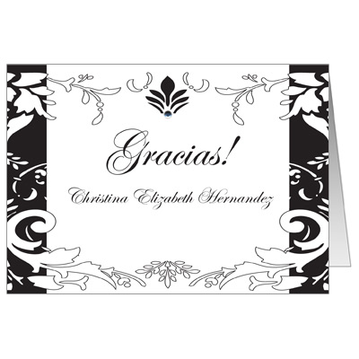 Quinceanera thank you cards thank you notes for sweet 15 black damask note card bright stripes thank you reheart Choice Image