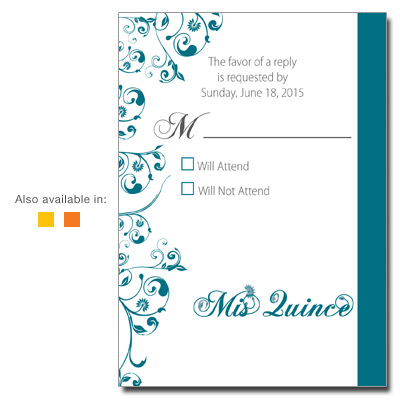 Quinceanera Response Cards, RSVP Cards for Sweet 15